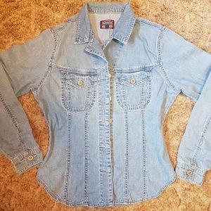 Jeans Button Down Blouse